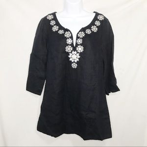 J.Crew Embroidered Linen Tunic Top Sz 8